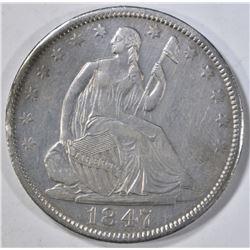 1847-O SEATED LIBERTY HALF DOLLAR  AU