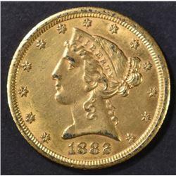1882-CC $5.00 GOLD LIBERTY AU/BU