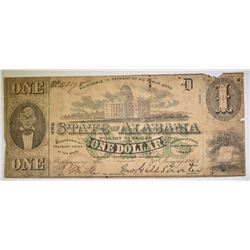 1863 $1.00 STATE OF ALABAMA NOTE