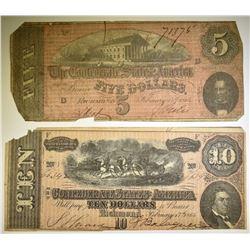 1864 $5 & $10 CONFEDERATE NOTES LOW GRADE