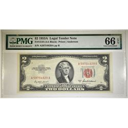 1953A $2.00 RED SEAL NOTE, PMG-66 EPQ
