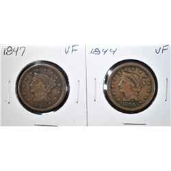 1844 & 47 LARGE CENTS VF