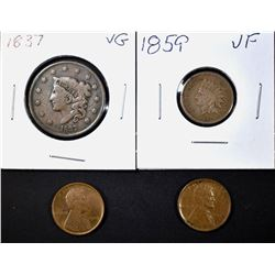 MIXED COPPER LOT LARGE CENT - LINCOLN