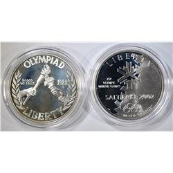 1988 & 2002 OLYMPIC PROOF COMMEM SILVER DOLLARS