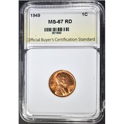 1949 LINCOLN CENT, OBCS SUPERB GEM BU RED