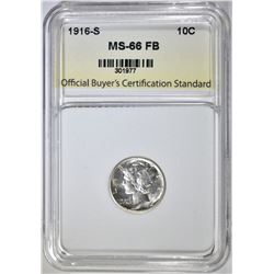 1916-S MERCURY DIME, OBCS SUPERB GEM BU FB