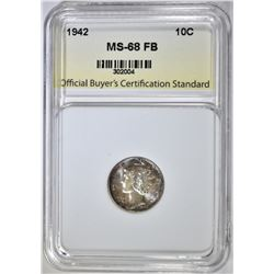 1942 MERCURY DIME, OCCS SUPERB GEM+ BU FB