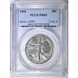 1941 WALKING LIBERTY HALF DOLLAR PCGS PR-65