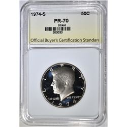 1974-S KENNEDY HALF, OBCS PERFECT GEM PR DCAM