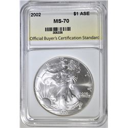 2002 AMERICAN SILVER EAGLE, OBCS PERFECT GEM BU