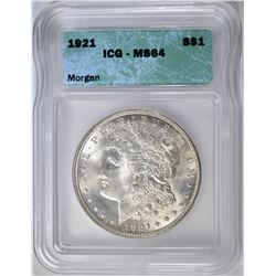 1921 MORGAN DOLLAR ICG-MS 64