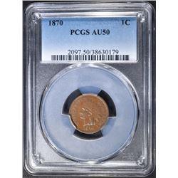 1870 INDIAN CENT PCGS AU-50
