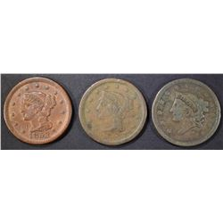 1838 VG, 53 XF, 54 FINE LARGE CENTS