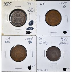 MIXED COIN LOT OF 4 COINS: