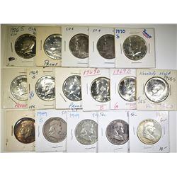 FRANKLIN & KENNEDY HALF DOLLAR LOT 16 COINS