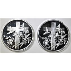 2-CROSS ONE OUNCE .999 SILVER ROUNDS