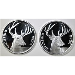 2-WHITETAIL DEER ONE OUNCE .999 SILVER ROUNDS