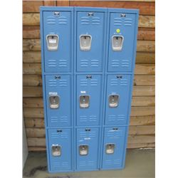BANK OF LOCKERS WITH 9 DOORS