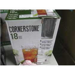 CORNERSTONE 18-PC GLASS SET