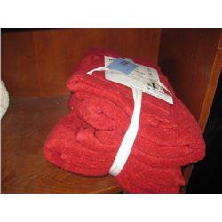 SET OF RED BATH TOWELS