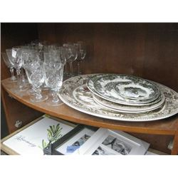 ASSORTED WINE GLASSES AND PLATES