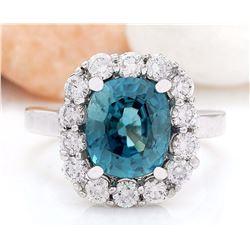 7.84 CTW Natural Zircon 14K Solid White Gold Diamond Ring