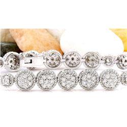 3.75 CTW Natural Diamond 14K Solid White Gold Bracelet