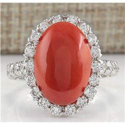 7.35 CTW Natural Red Coral And Diamond Ring 18K Solid White Gold