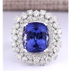 16.27 CTW Natural Blue Tanzanite And Diamond Ring 18K Solid White Gold