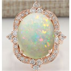 11.60 CTW Natural Opal And Diamond Ring In 18K Rose Gold
