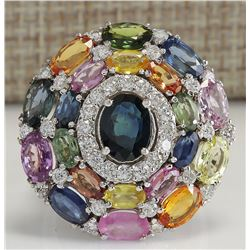 10.83CTW Natural Ceylon Sapphire And Diamond Ring In18K Solid White Gold