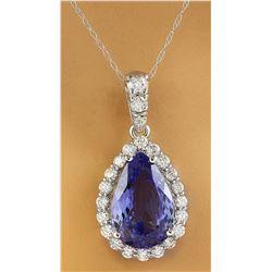 5.10 CTW Tanzanite 14k White Gold Diamond Necklace
