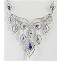 17.73 CTW Natural Tanzanite And Diamond Necklace In 18K White Gold