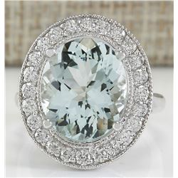 7.25 CTW Natural Blue Aquamarine And Diamond Ring In 18K White Gold