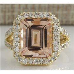 6.92 CTW Natural Peach Morganite And Diamond Ring In 18K Solid Yellow Gold
