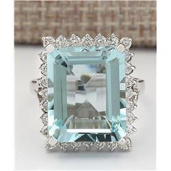 12.29 CTW Natural Aquamarine And Diamond Ring In 18K White Gold