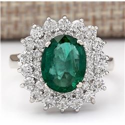 3.98 CTW Natural Emerald And Diamond Ring In 18K White Gold
