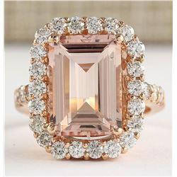 8.33 CTW Natural Morganite And Diamond Ring In 18K Rose Gold