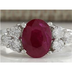2.90 CTW Natural Red Ruby And Diamond Ring 18K Solid White Gold