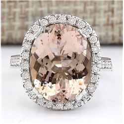9.47 CTW Natural Morganite And Diamond Ring In 18K White Gold