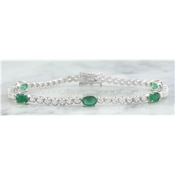 4.03 CTW Emerald 14K White Gold Diamond Bracelet