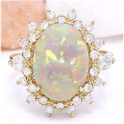 4.85 CTW Natural Opal 18K Solid Yellow Gold Diamond Ring