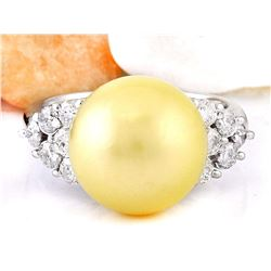12.90 mm Gold South Sea Pearl 18K Solid White Gold Diamond Ring