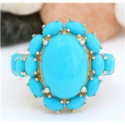 9.02 CTW Natural Turquoise 18K Solid Yellow Gold Ring