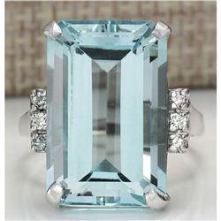 16.42 CTW Natural Blue Aquamarine Diamond Ring 18K Solid White Gold