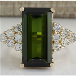 10.65 CTW Natural Green Tourmaline And Diamond Ring 14K Solid Yellow Gold