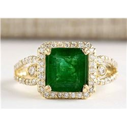2.90 CTW Natural Emerald And Diamond Ring In 18K Yellow Gold