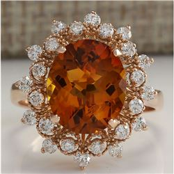 4.85 CTW Natural Madeira Citrine And Diamond Ring 18K Solid Rose Gold