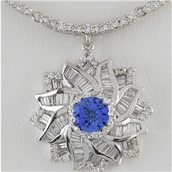 15.00 CTW Natural Tanzanite And Diamond Necklace In 18K White Gold