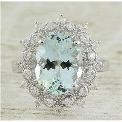 4.48 CTW Aquamarine 18K White Gold Diamond Ring